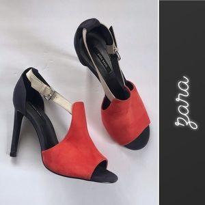 Zara Colorblock Suede Heels